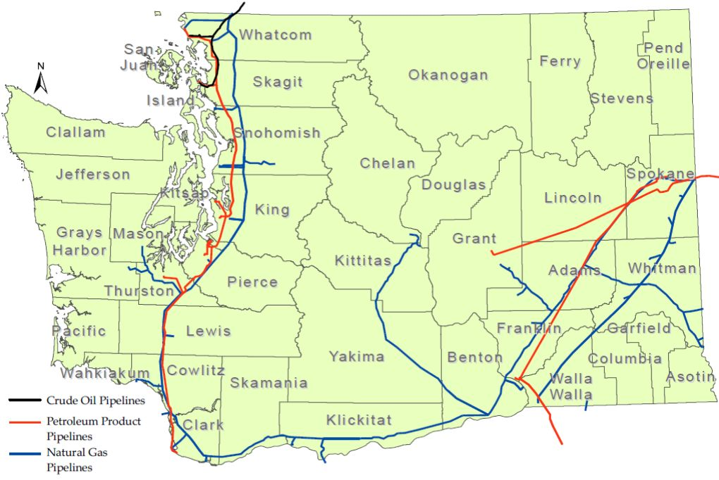 Natural Gas Pipeline Map Washington State